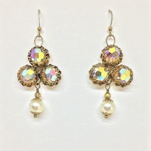 Up Cycled Vintage Drop Earrings AB Crystal & Pearl